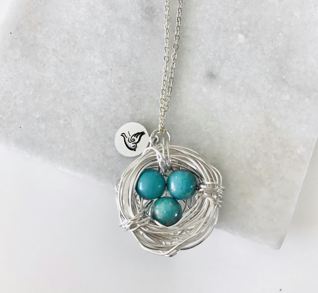 Handmade Birds Nest pendant with turquoise beads & stamped bird charm