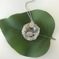 Handmade Birds Nest pendant necklace with semi precious Agate beads