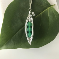 Handmade pea pod pendant necklace with green semi precious Agate beads