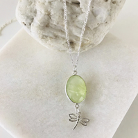Sterling silver prehnite gemstone and dragonfly necklace
