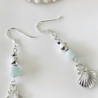 Amazonite frosted Aqua blue earrings sterling silver earwires,gift for her