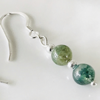 Indian Agate green gemstone earrings, gift for her, gift wrapped
