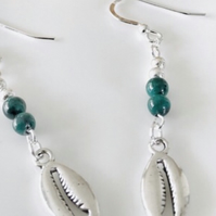 Deep sea green gemstone earrings with silver conch shelll charms