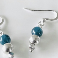 Ocean blue Apatite gemstone, crystal and sterling silver bead earrings