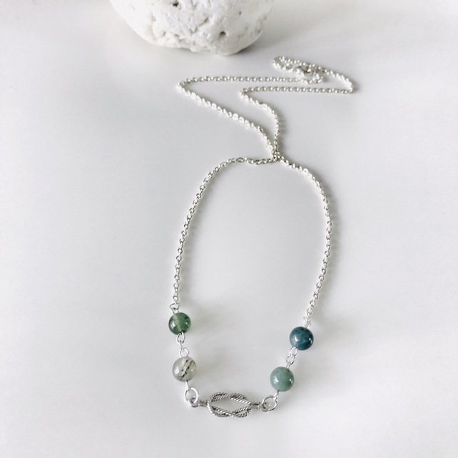 Nautical necklace with Indian Agate semi precious beads and sterling silver
