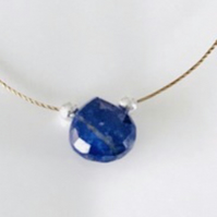 Lapiz Lazuli gemstone and sterling silver bead cord necklace