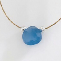 Blue chalcedony briolette gemstone necklace