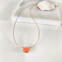 Carnelian orange briolette gemstone  necklace