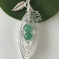 Handmade pea pod necklace with agate gemstones and silver leaf