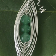 Handmade green pea pod necklace with silver leaf