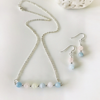 Morganite and Aquamarine gemstone necklace and earrings set.