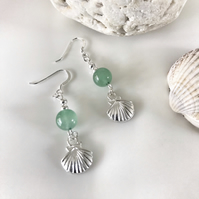 Jade gemstone earrings with shell charms and sterling silver ear wires