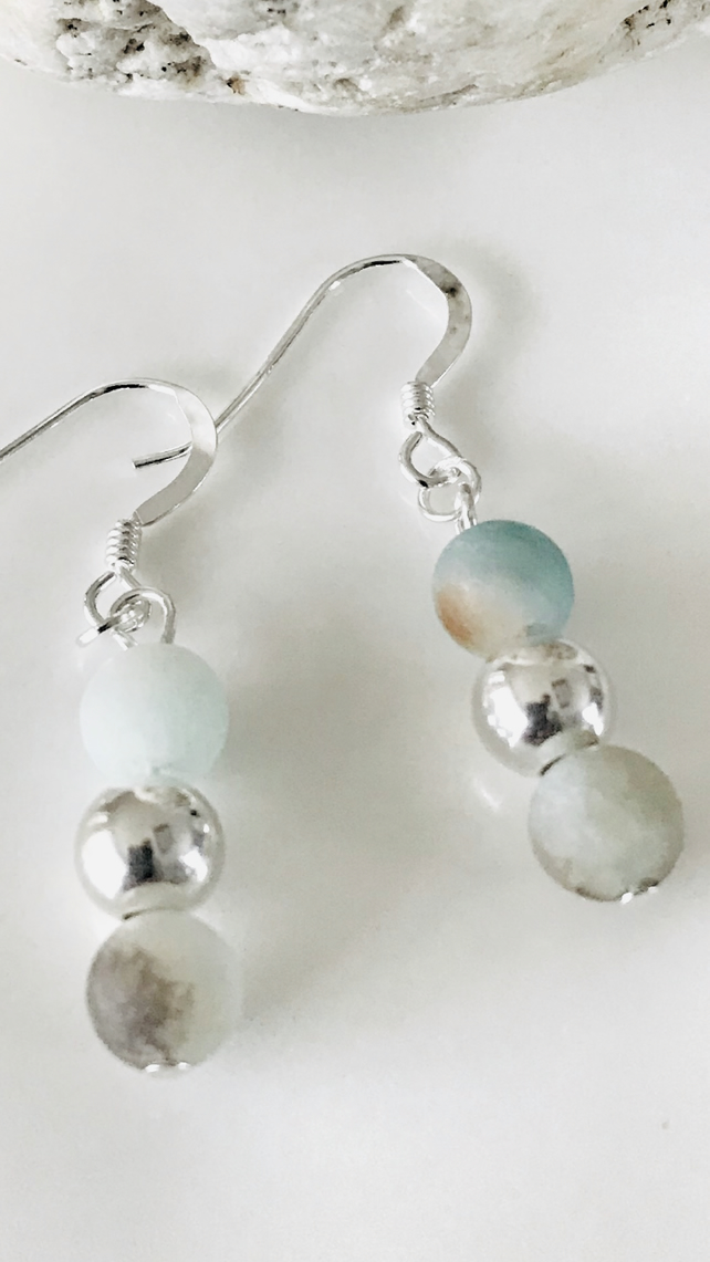Frosted Amazonite earrings with sterling silver beads and ear wires