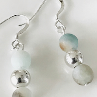Frosted Amazonite reflection earrings, sterling silver beads and ear wires