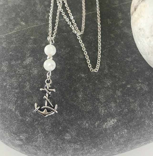 Mother of pearl and anchor necklace