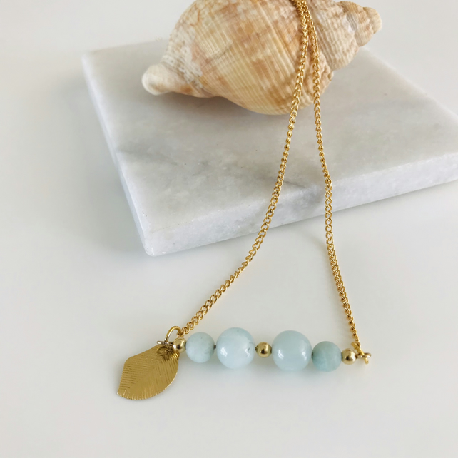 Amazonite gemstone sea foam blue and gold bar necklace,  gift for her