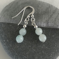 Amazonite sea foam soft blue earrings with sterling silver earwires