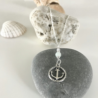 Anchor necklace with faceted Amazonite gemstone bead.