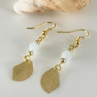 Amazonite blue gemstone earrings with gold plated leaves, gift for her