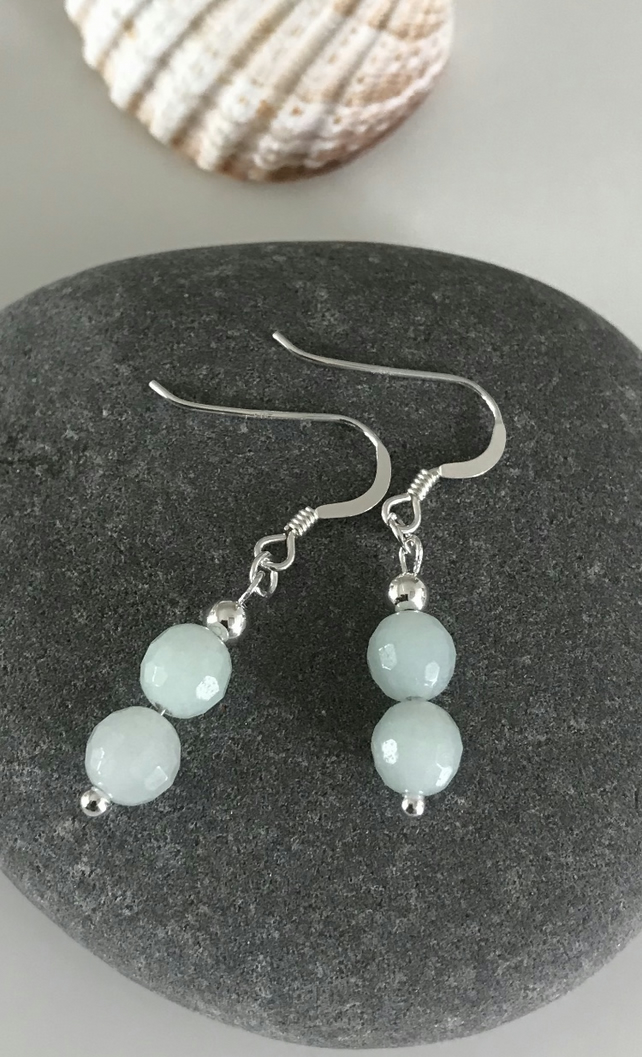 Amazonite sea foam soft blue earrings with Sterling Silver ear wires