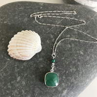 Sea green silver bezel set faceted chrysoprase necklace