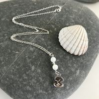 Mother of pearl necklace with oyster shell charm