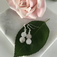Pretty rose quartz earrings with sterling silver ear wires