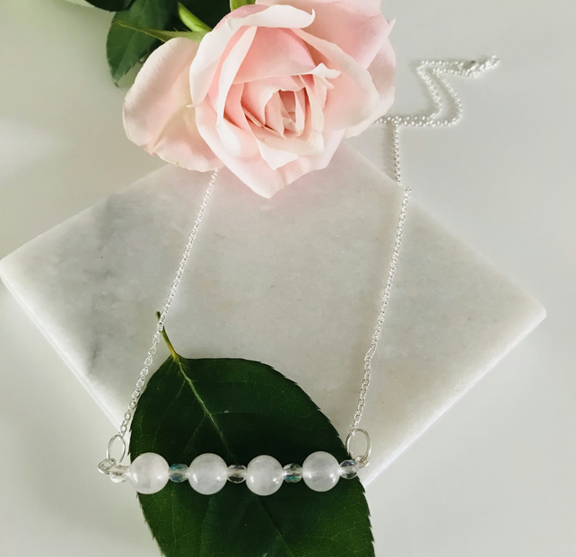 Pretty and feminine rose quartz and crystal bead necklace