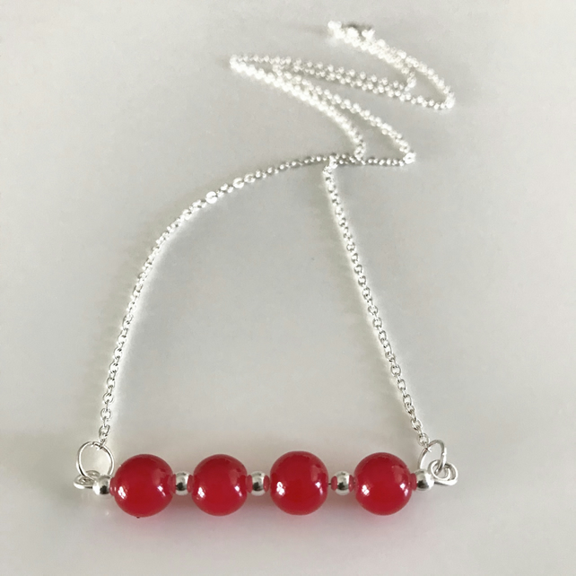 Ruby red glass bead necklace