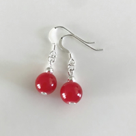 Ruby red glass bead earrings