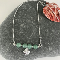 Sea green Jade gemstone bar necklace with shell charm, gift for her