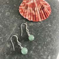 Jade green gemstone earrings with sterling silver ear wires, gift for her
