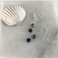Lapis Lazuli gemstone earrings with sterling silver ear wires