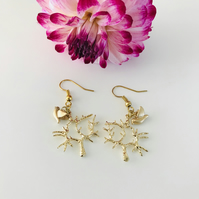 Pretty gold tree earrings with leaf and dove charms