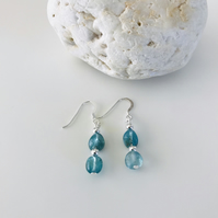 Stylish Apatite nugget bead earrings with sterling silver ear wires gift for her