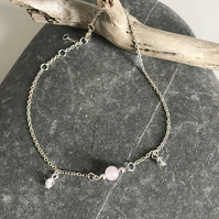 Rose quartz gemstone anklet bracelet