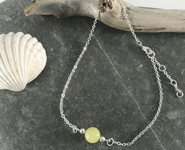 Anklet bracelet with Lemon Jasper gemstone