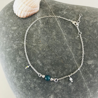 Anklet bracelet with blue Apatite gemstone bead