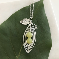 Handmade Lemon Jasper pea pod necklace