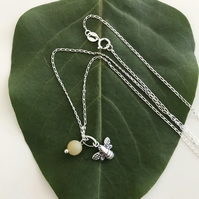 Sterling Silver bee charm necklace with sterling silver chain and gemstone bead