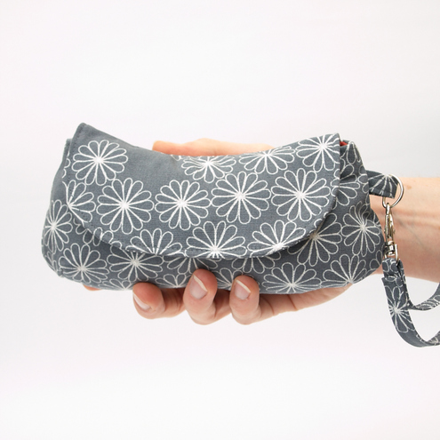 Grey Clutch Bag With Detachable Wristlet Strap - Daisy Storm