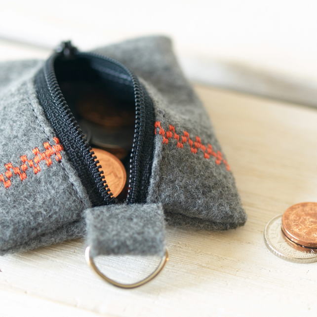 Coin Pouch with Keyring in Eco Friendly Felt - Orange