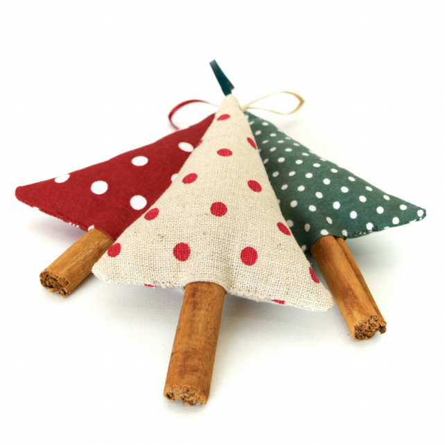 Polka Dot Christmas Decorations Set of 3 Folksy
