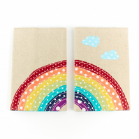 Over the Rainbow Kids Passport Cover, Colourful Vegan Passport Sleeve