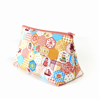 Patchwork Pastels Fabric Toiletry Bag