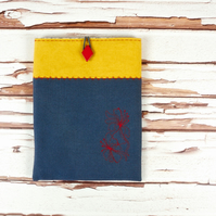 Padded iPad Mini Sleeve in Floral Embroidered Linen
