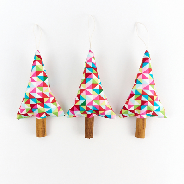 Set Of Three Rustic Modern Christmas Tree Decor Folksy