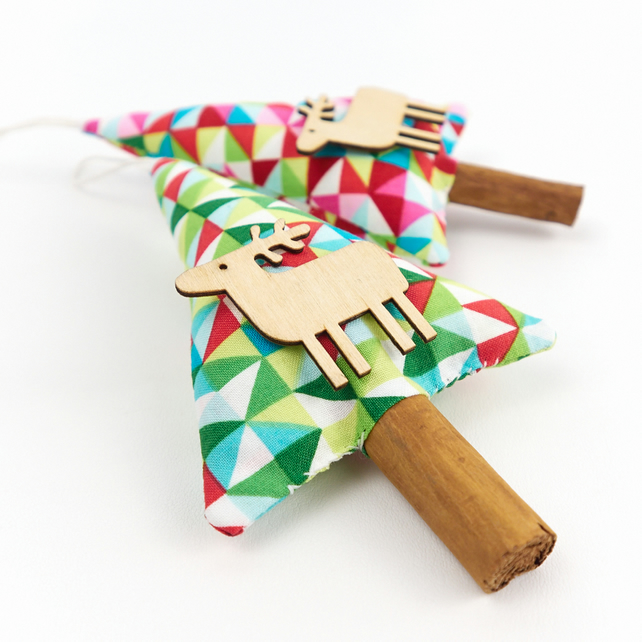 Set of 2 Cinnamon Christmas Tree Decorations with Wooden Reindeer