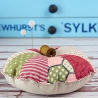Patchwork Pin Cushion with Wooden Bobbin Sewing Gift