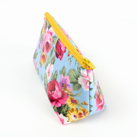 Small Floral Makeup Bag in Wipe Clean Fabric